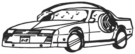 car with headphones illustration